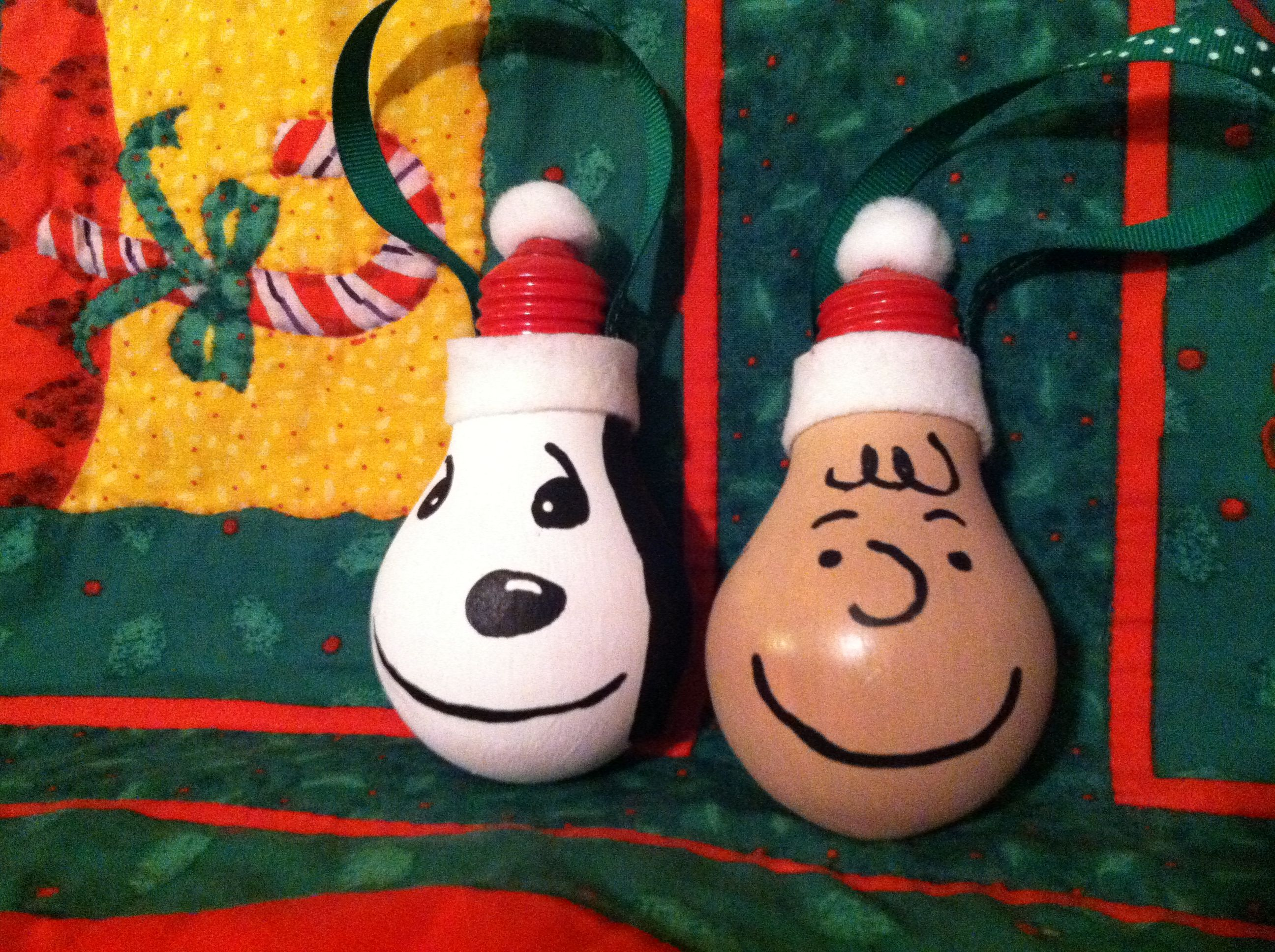Charlie Brown and Snoopy light bulb ornies