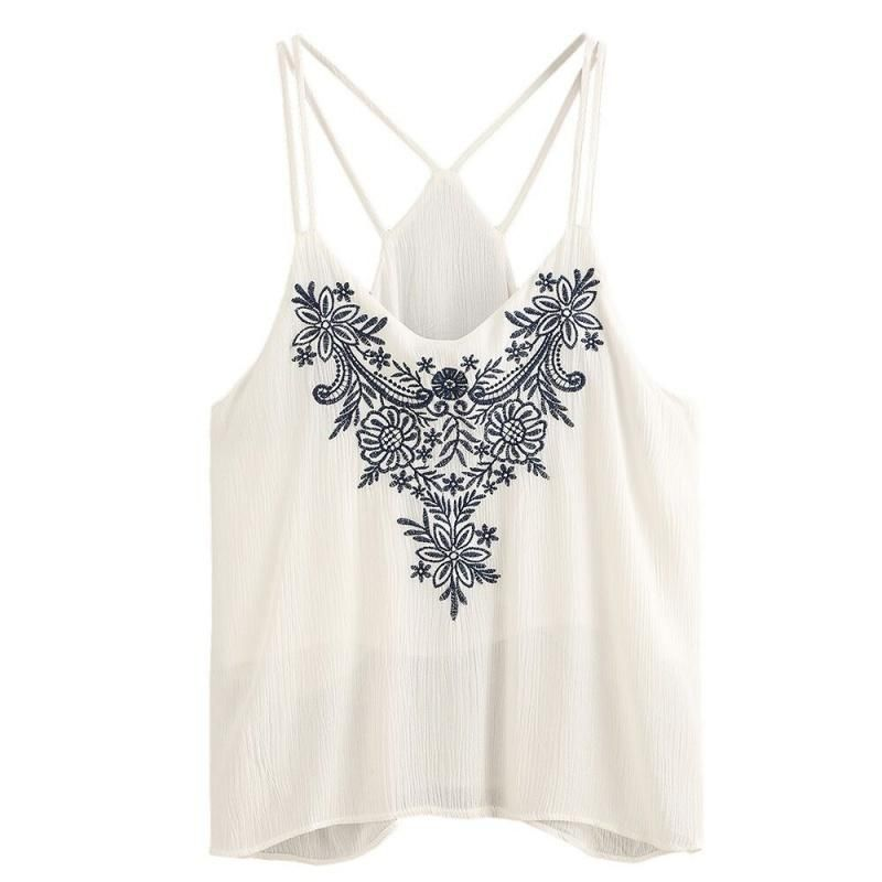 2d7a37f8b0b Now trending  Women Summer Boho Flower Embroidered Crop Tops Strappy Tank  Tops Cami Vest Cropped