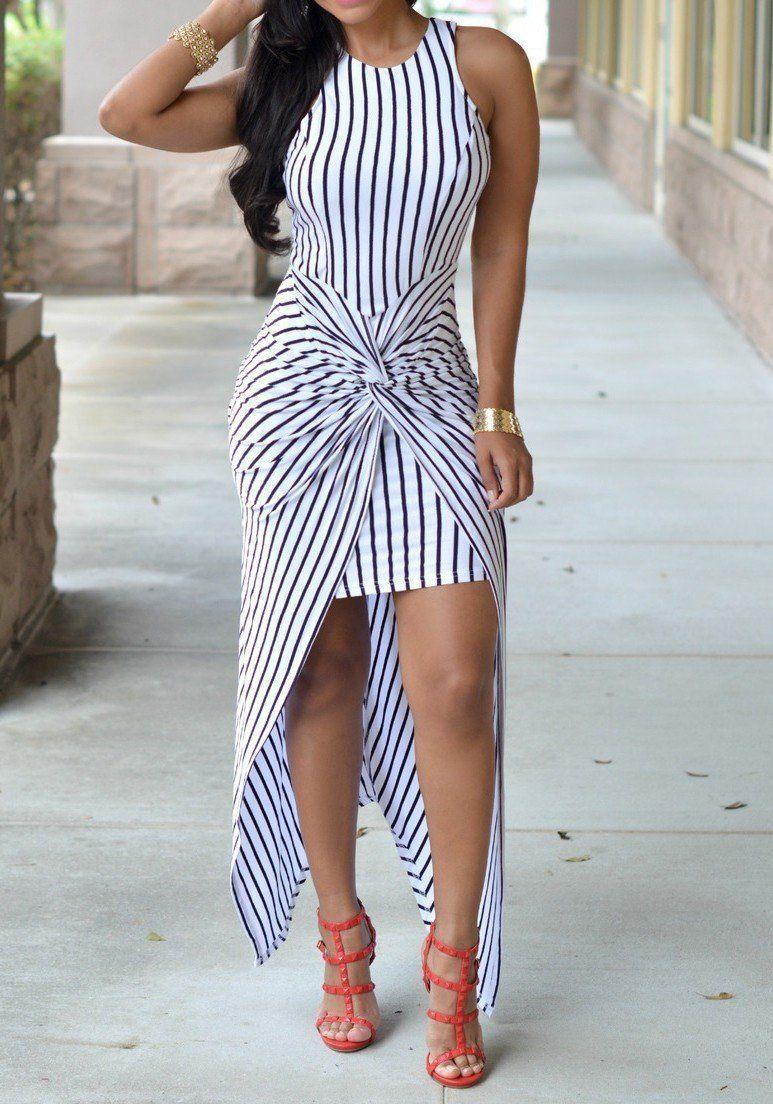 0628f24a8e White-Black Striped Print Irregular High-Low Swallowtail Ruched Las Vegas  Maxi Dress