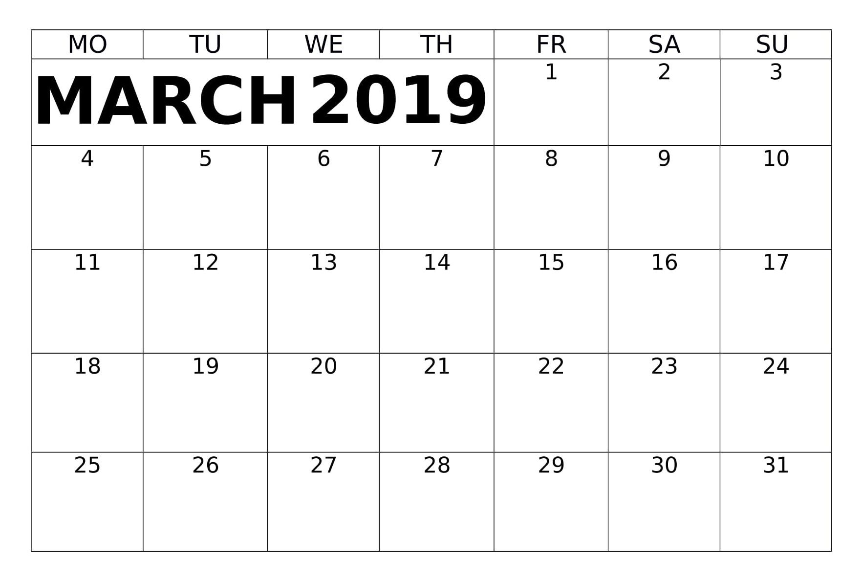March Calendar Printable Planner 2019 Calendar Printables March