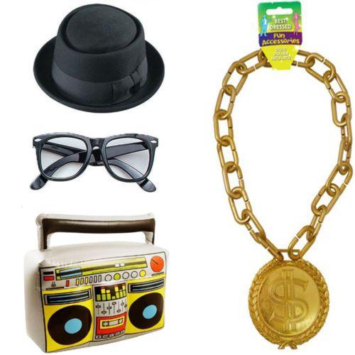 7cd8bd5ddf6 80 s Hip Hop Fancy Dress Prop Costume Rev Run DMC LL Cool J Boom Box Hat  Retro