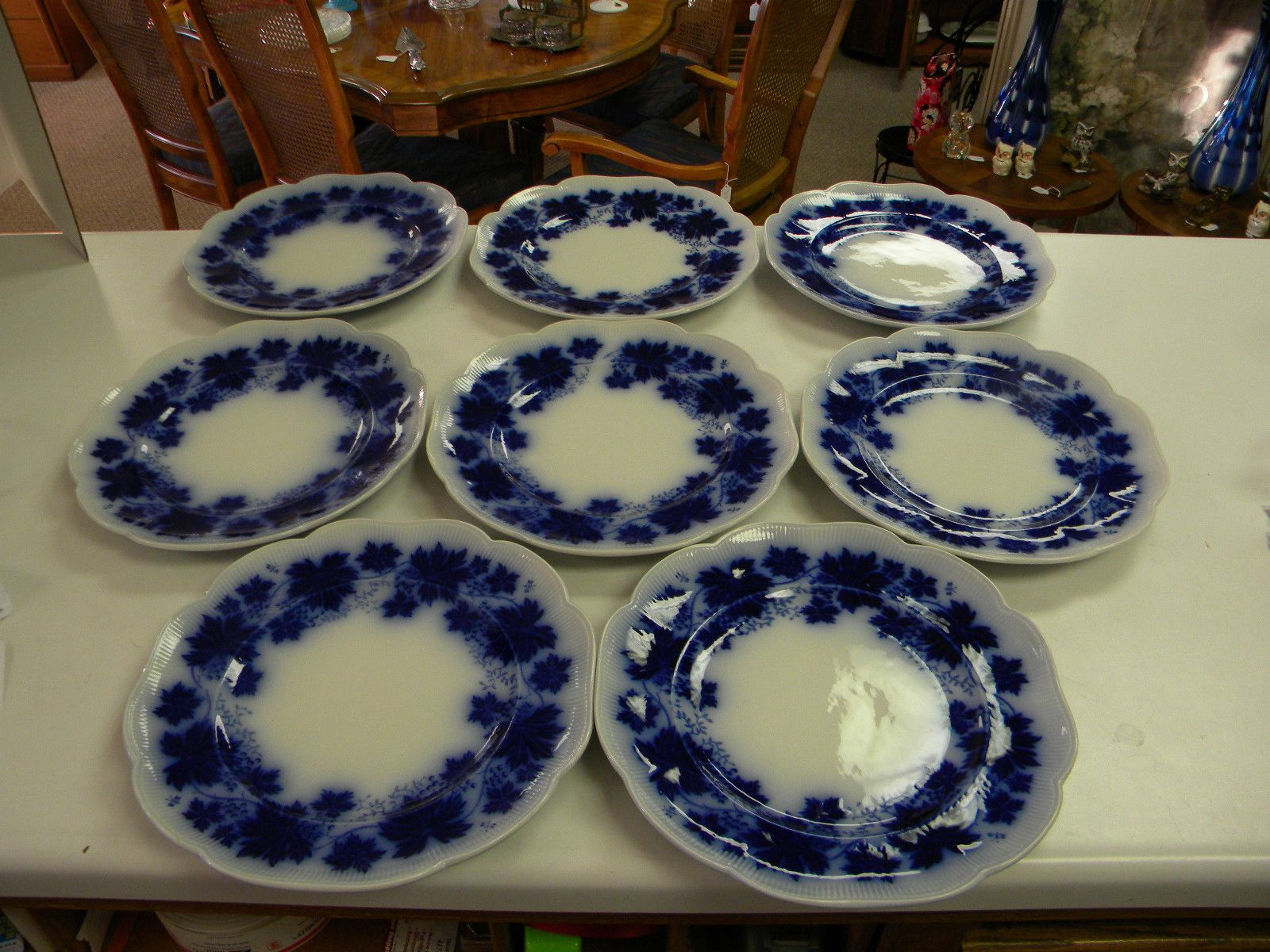 "Gefle Vinranka Sweden Flow Blue Dinner Plate Set 8 Fabulous 10 3 8"" RARE 