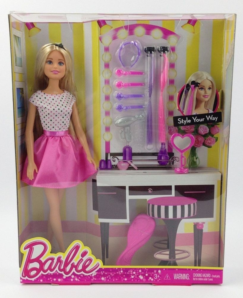 Barbie Doll Playset Salon Hair Style Extensions Accessories Outfit