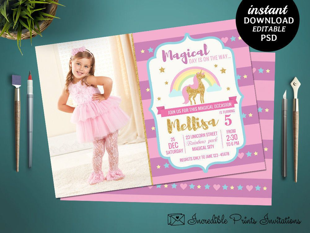 Printable Unicorn Girl Birthday Party Invitation Template 5th Invite By HandmadeIncredible On