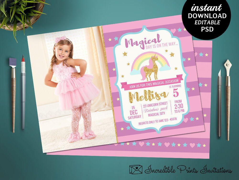 Printable Unicorn Girl Birthday Party Invitation Template Unicorn - download invitation card