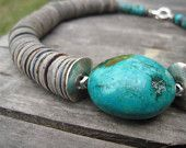 Huge Turquoise Necklace Asymmetrical Statement Teal Shell Geometric Chunky Natural Gray Blue Minimalist Summer Fashion Jewelry Silver