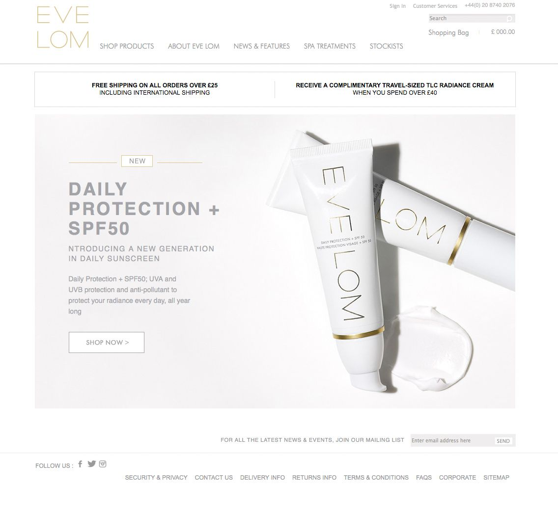 EVE LOM Main image has great impact. There are obvious flaws, but very on brand for them. http://www.evelom.com/