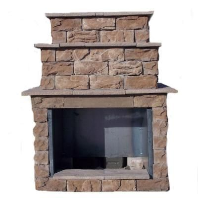 72 In Fossil Brown Grand Outdoor Fireplace Kit Fbgfpl