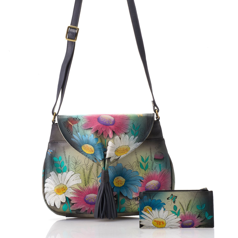 295eb6f2f498 730-123 - Anuschka Hand-Painted Leather Tassel Detailed Flap-over Crossbody  Bag