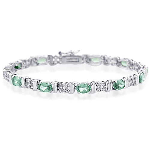 """Sterling Silver Spinel Green and Created White Sapphire Bracelet - Size 7"""" Netaya. $54.95. White Sapphires. Green Spinel. Sterling Silver Bracelet - Size 7"""""""