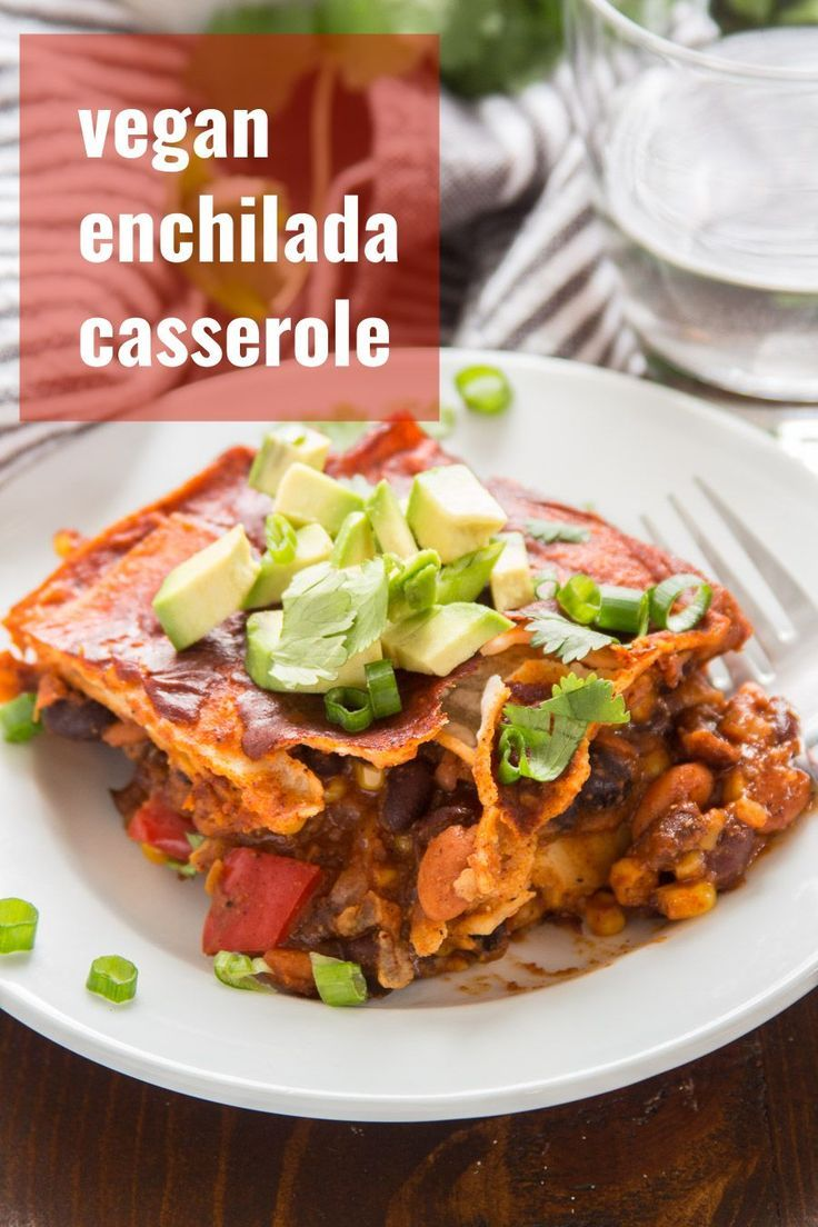 Vegan Enchilada Casserole Layers of corn tortillas zesty beans and veggies and spicy sauce are baked up to bubbly perfection to make this easy and mouthwatering enchilada...