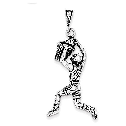 Basketball Girl Player 3D .925 Solid Sterling Silver Charm MADE IN USA