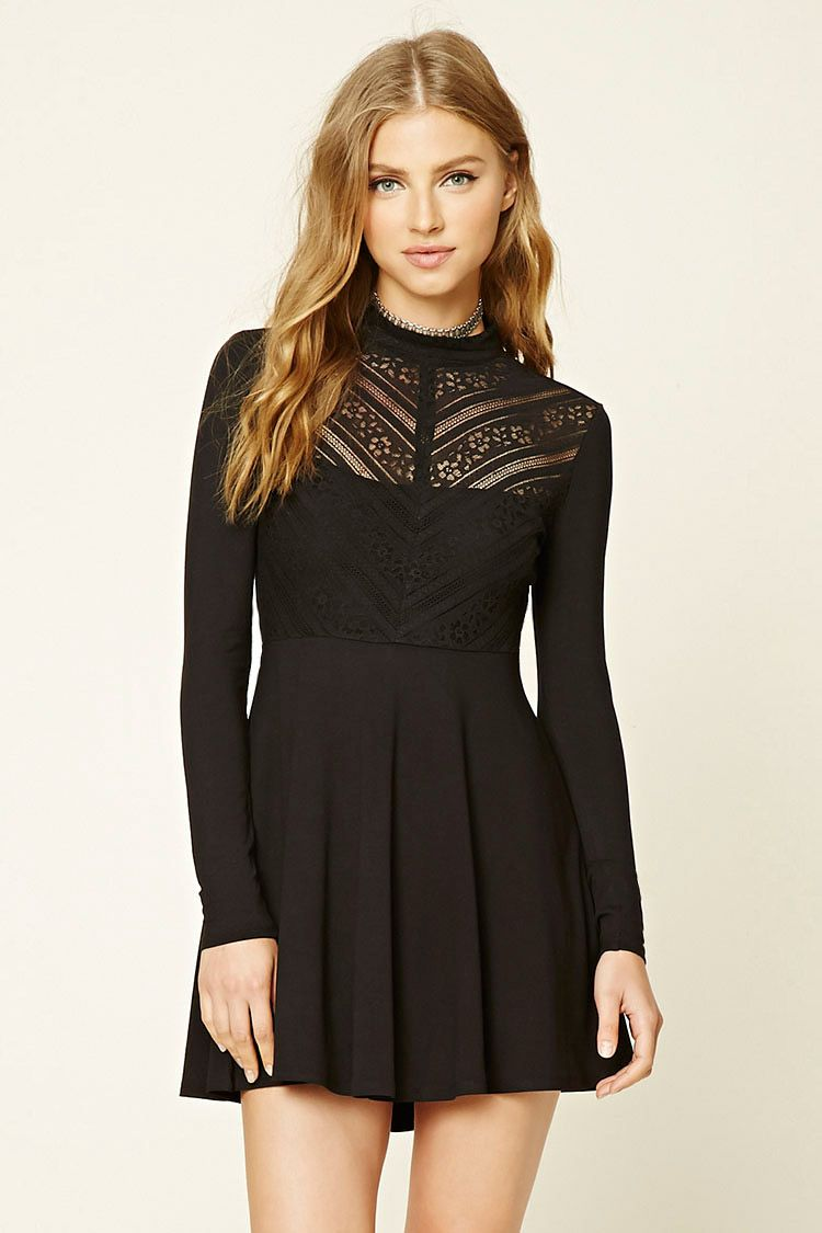 7a292f32c08 A stretch-knit swing dress featuring a semi-sheer floral lace bodice ...