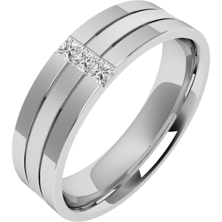 Charmant A Stunning Princess Cut Diamond Set Mens Wedding Ring In 18ct White Gold