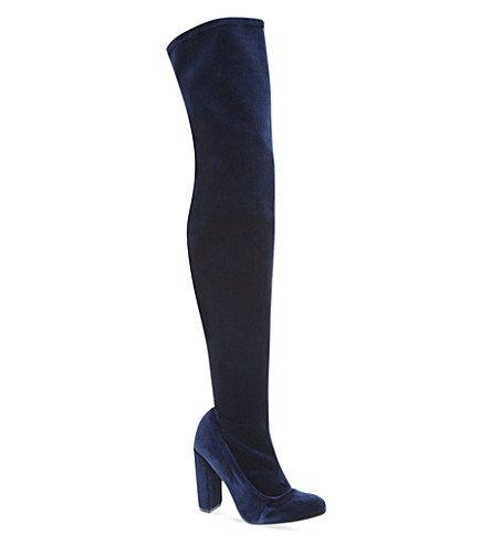 Kurt Geiger Carvela Navy Blue Velvet Thigh High Boots | Shoes ...