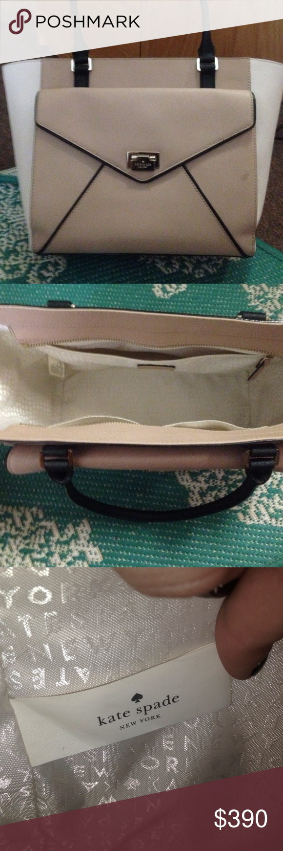 Kate spade tote Kate spade purse tote size. Only used a hand full of times. Just not a good size for my liking. No stains, pet free smoke free home. Great condition!! Love the style! Price always negotiable. kate spade Bags