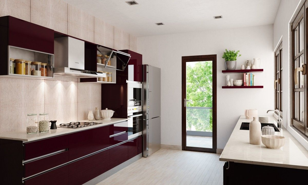 this crimson parallel shaped modular kitchen is a space saving and efficient design modulark on kitchen interior parallel id=24291