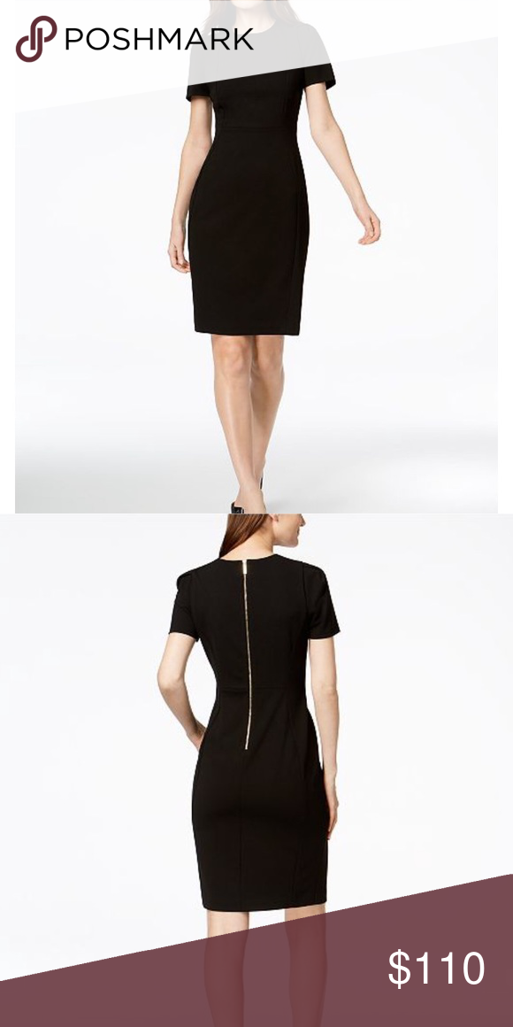 e81d035f7d Calvin Klein scuba crepe sheath dress in black Brand new dress, Worn only  once for a 2 hour event! Beautiful black dress with gold zipper in the back  Calvin ...
