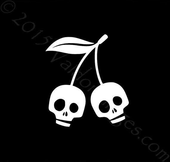 Skull cherries car decal laptop decal skull car decal cherry laptop decal skeleton car decal skeleton laptop sticker cherry car decal