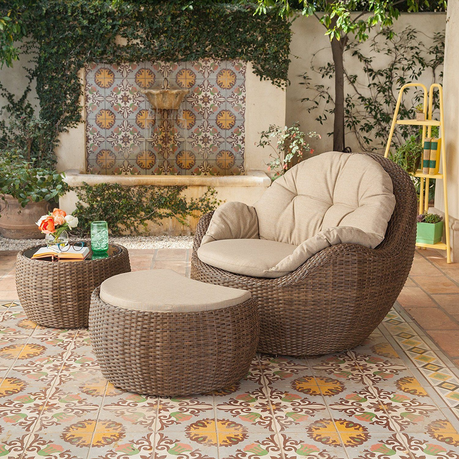 3 piece small space outdoor garden furniture set patio wicker