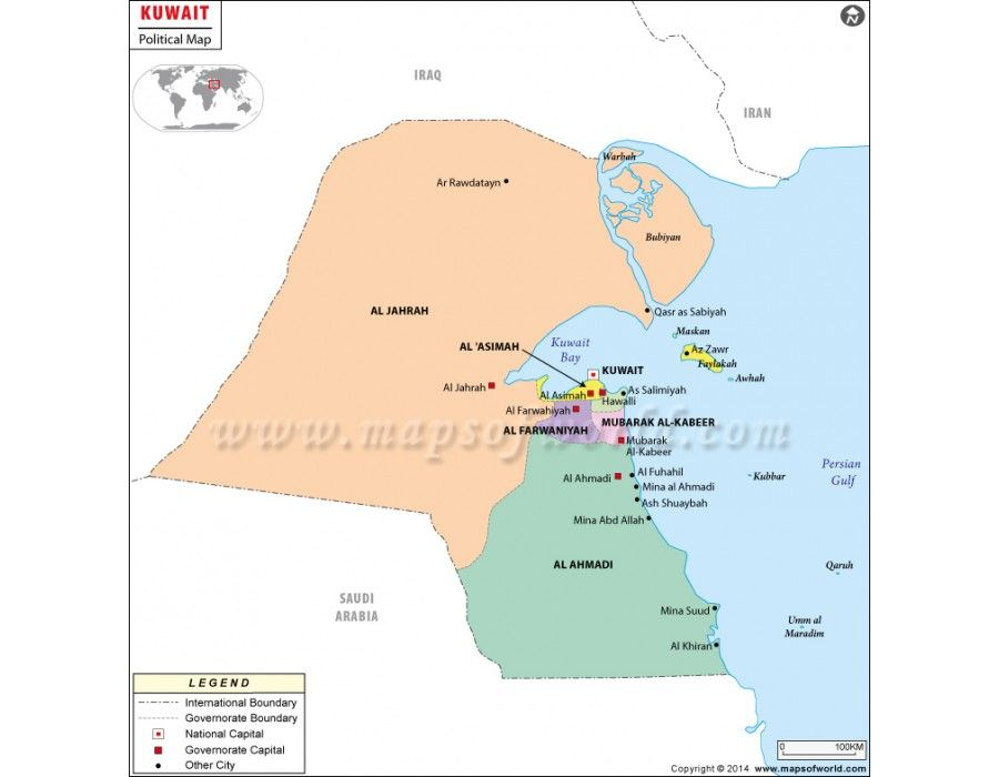 Kuwait Political Map.Kuwait Political Map Store Mapsofworld Map Country Maps Politics