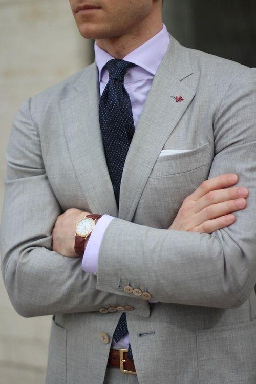 Grey Blazer Purple Shirt Blue Tie And White Pocket Square For