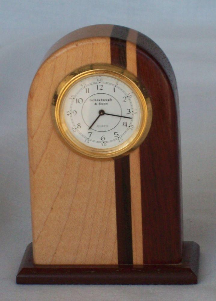 schlabaugh   sons art deco quartz clock wooden arch desk
