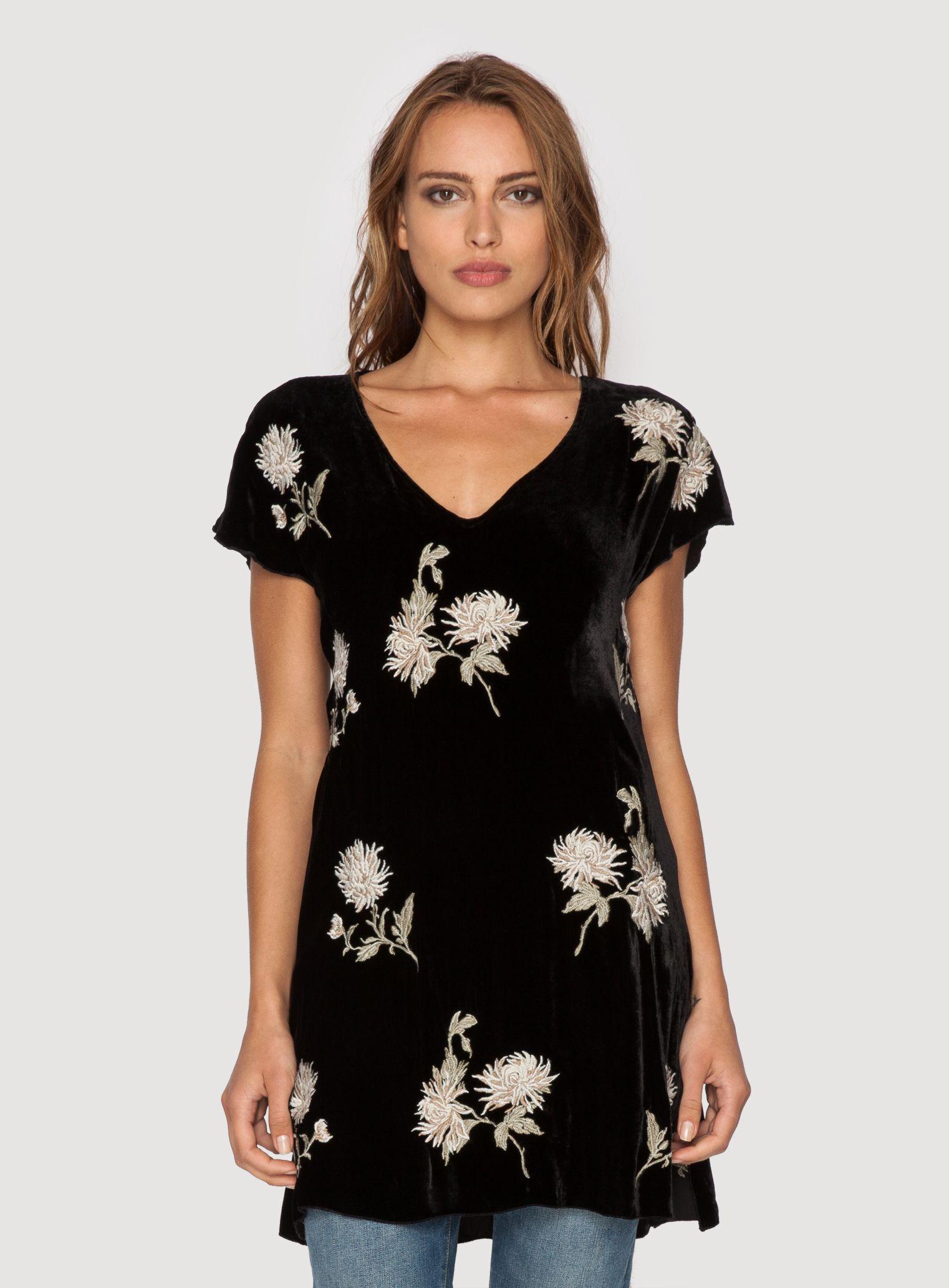 Johnny Was Clothing JWLA embroidered velvet MARGARIT ASYMMETRICAL DRESS in Black