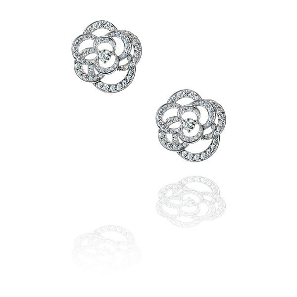 Camélia earrings in 18k white gold and diamonds. CAMÉLIA CHANEL found on Polyvore