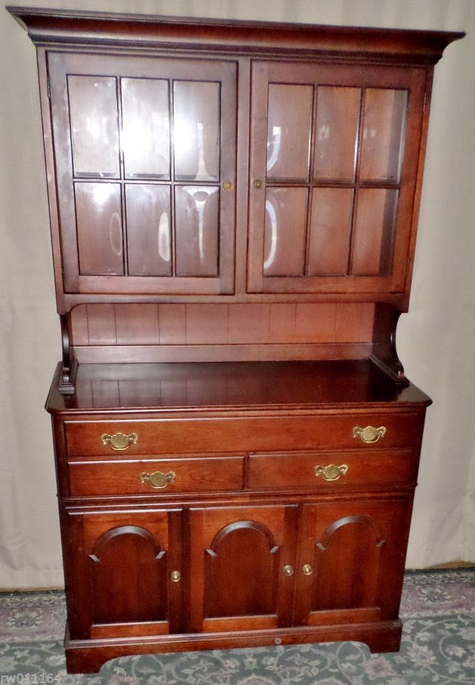 VINTAGE Colonial Furniture Cherry China Cabinet, Hutch With Lights ...