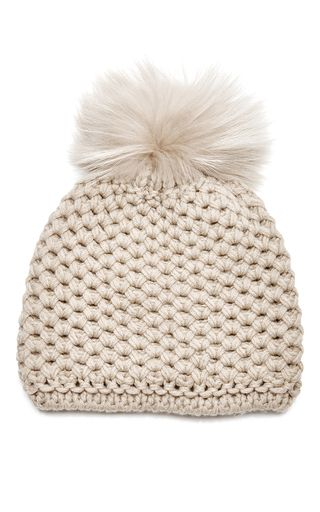 49bf467740e A plush fur pom pom lends a whimsical finish to this classic beanie hat  from   Inverni  . Crafted from sumptuously soft cashmere for a cosy