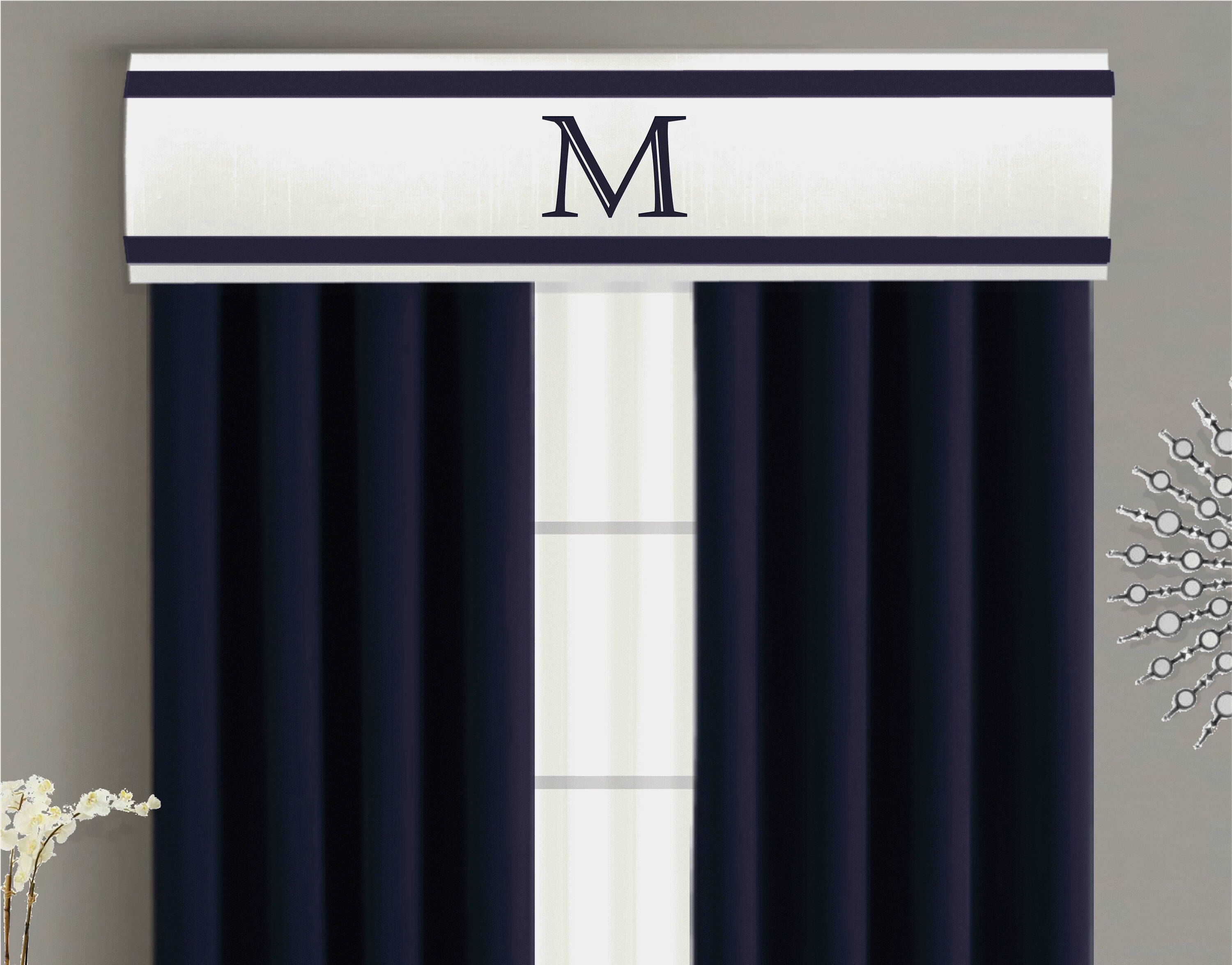 Valance Cornice Board Pelmet Box Window Treatment in White with Navy Blue  Ribbon Trim and Monogram