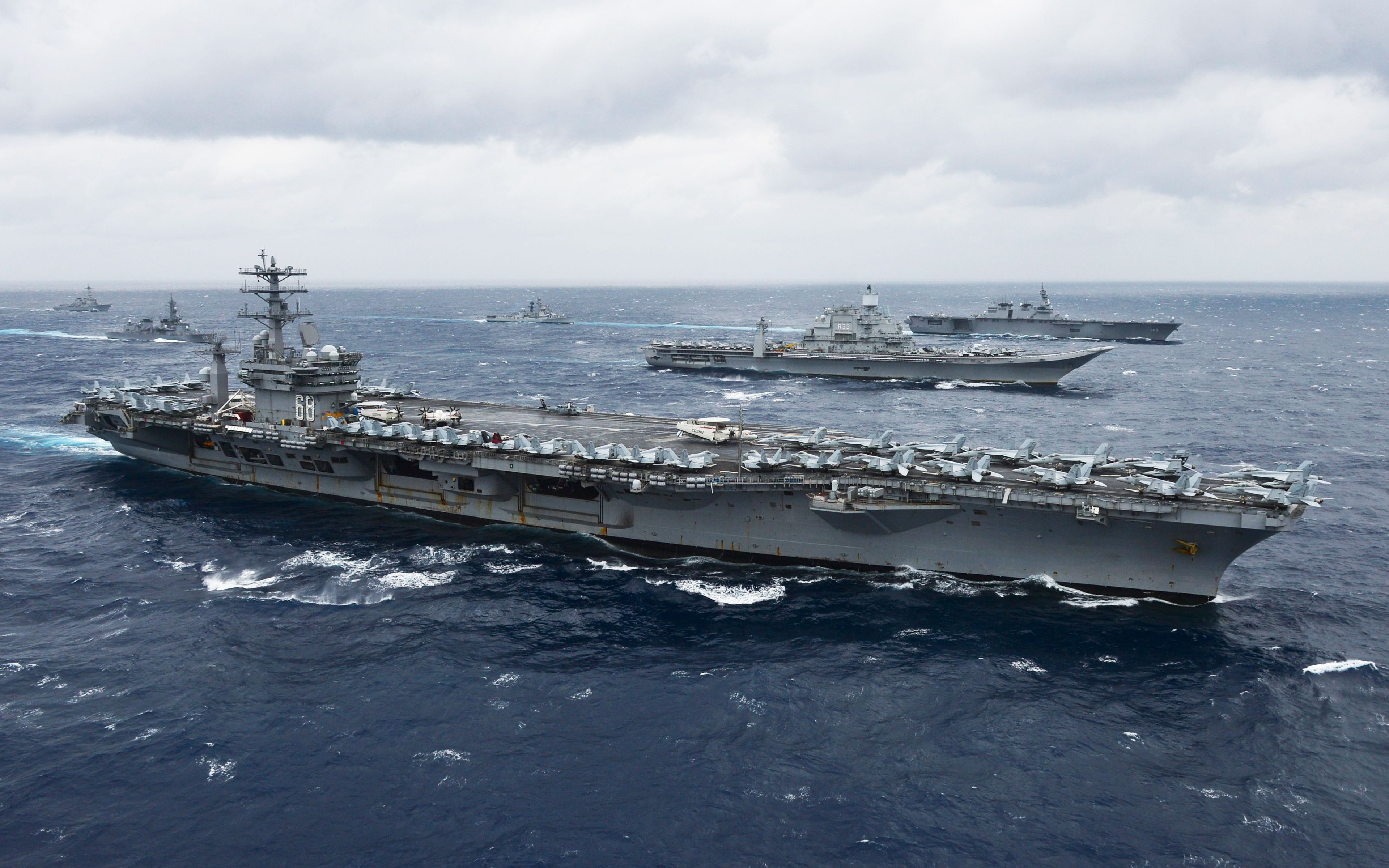 Uss Nimitz Cvn 68 American Aircraft Carrier Along With Ins