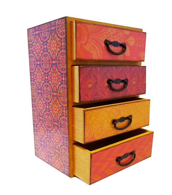 Jewelry Box Chest With Drawers Pink Orange Navy Blue And Gold Jewelry Box Organizer Chest Custom Furniture Diy Painting Furniture Diy Jewelry Organizer Box