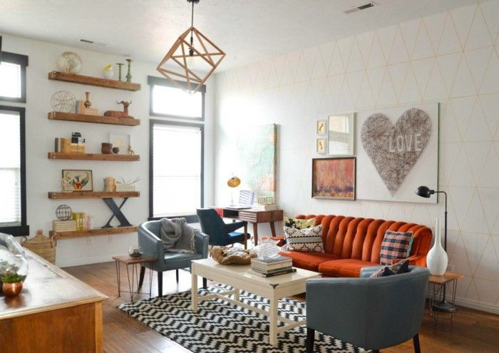 living room set up open shelves carpet orange sofa decoration rh pinterest com