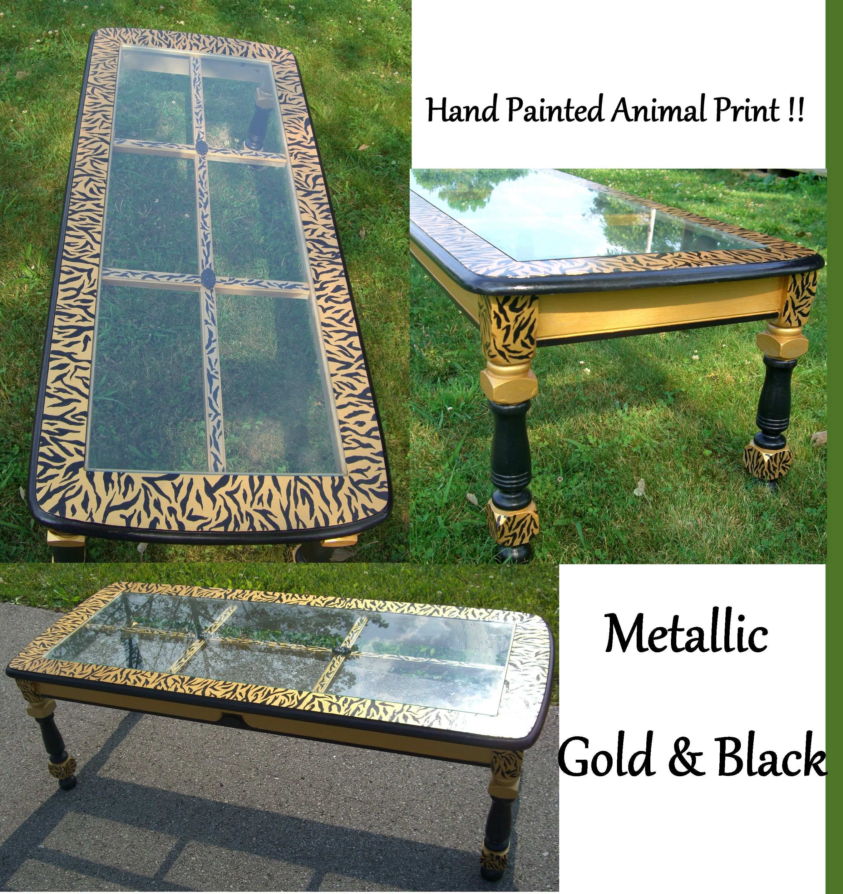hand painted coffee table zebra or tiger print that s in the eye