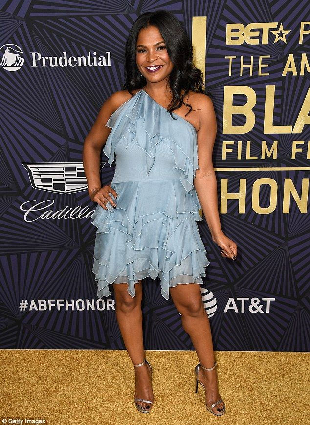 Blue Beauty Actress Nia Long 46 Of Boyz N The Hood Fame Channeled A Fairy Vibe With Her Baby Ruffled One Shoulder Dress Which Showed Off