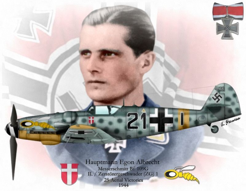 Hauptmann Egon Albrecht was credited with 25 victories. His total included 15 victories claimed over the Eastern Front and 10 over the Western Front, including at least six four-engine bombers. In addition he recorded 11 aircraft destroyed on the ground on the Eastern Front.