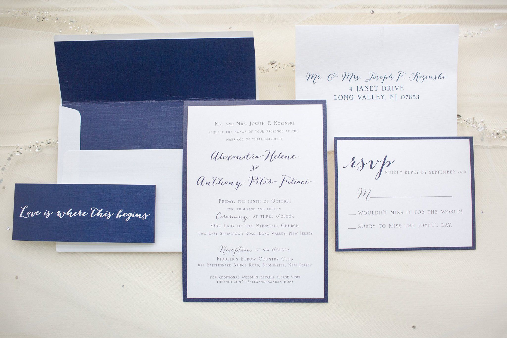 Classic navy blue and white invitation design belly band with song classic navy blue and white invitation design belly band with song lyric custom envelope liner stopboris Images
