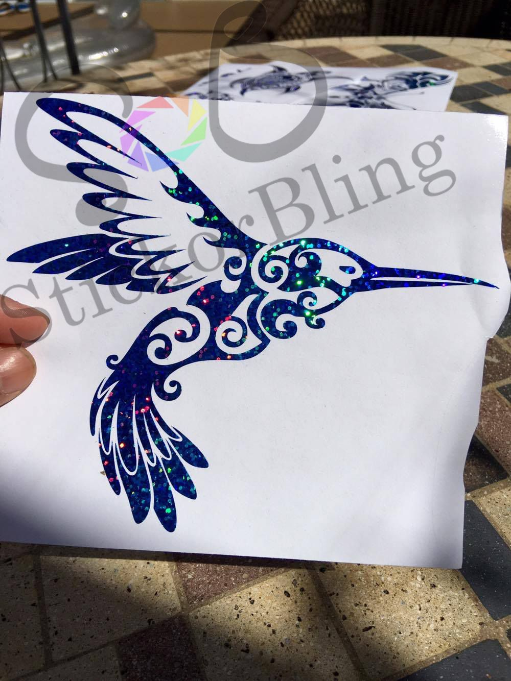 Humming Bird Tribal Silver Glitter Holographic Vinyl Decal Sticker - Vinyl decals cartribal hearts decal vinylgraphichood car hoods decals and