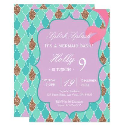 Purple mermaid tail birthday invitation stopboris Choice Image