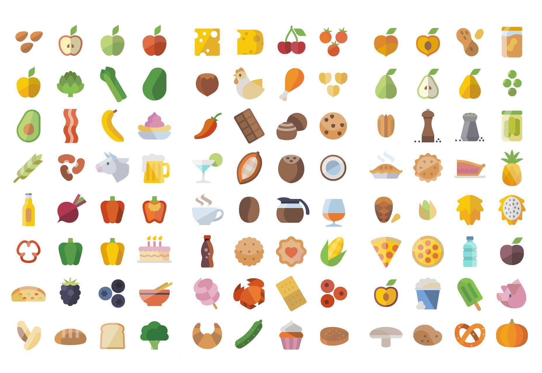 Huge Flat Food Icons Set