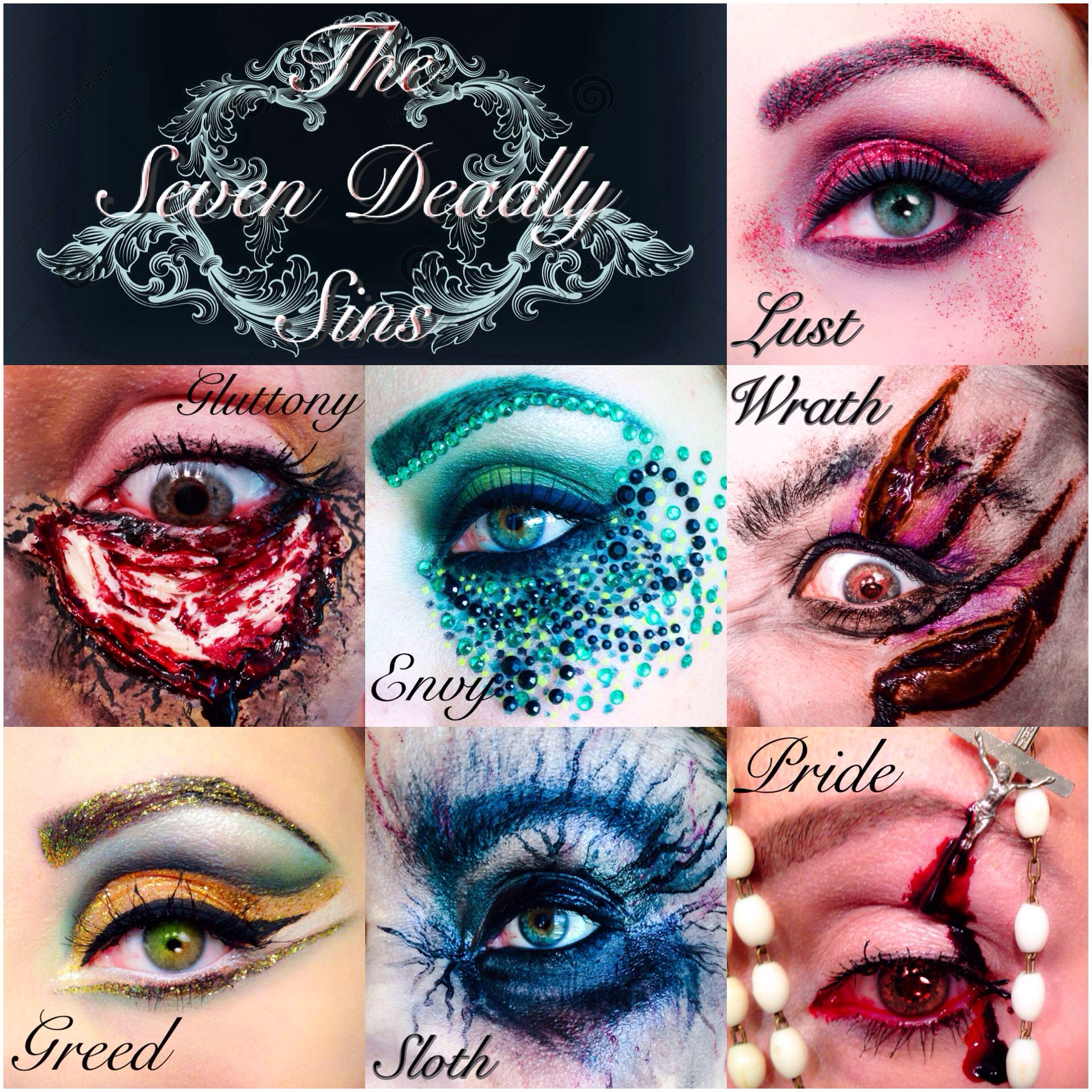 seven deadly sins eye makeup doll make up pinterest halloween kost m halloween und wasser. Black Bedroom Furniture Sets. Home Design Ideas