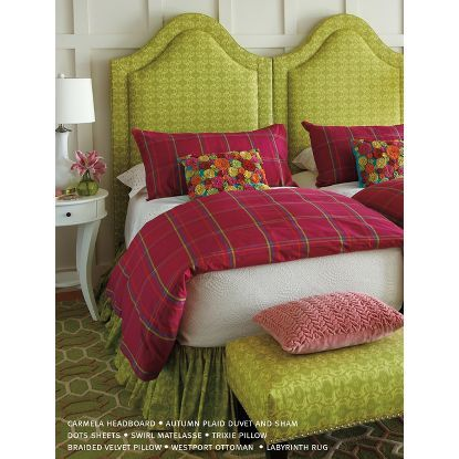 Autumn Plaid Duvet Cover & Sham in Clover (Patterned Pattern, Sham) | Fine Quilts and Shams from Company C