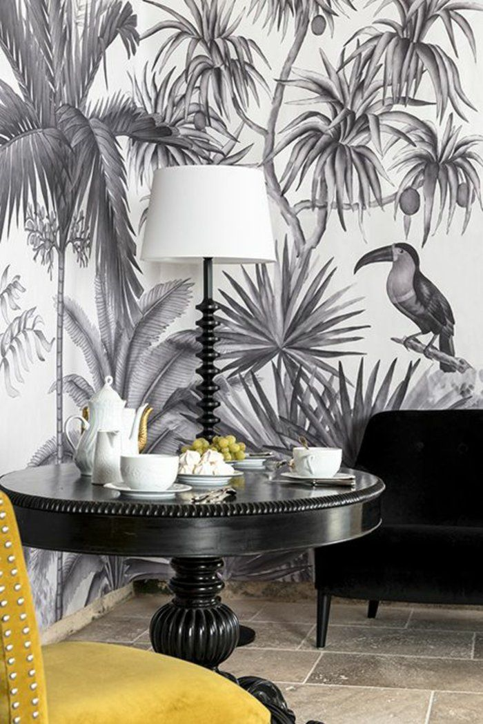 1001 mod les de papier peint tropical et exotique papier peint exotique d co papier peint et. Black Bedroom Furniture Sets. Home Design Ideas