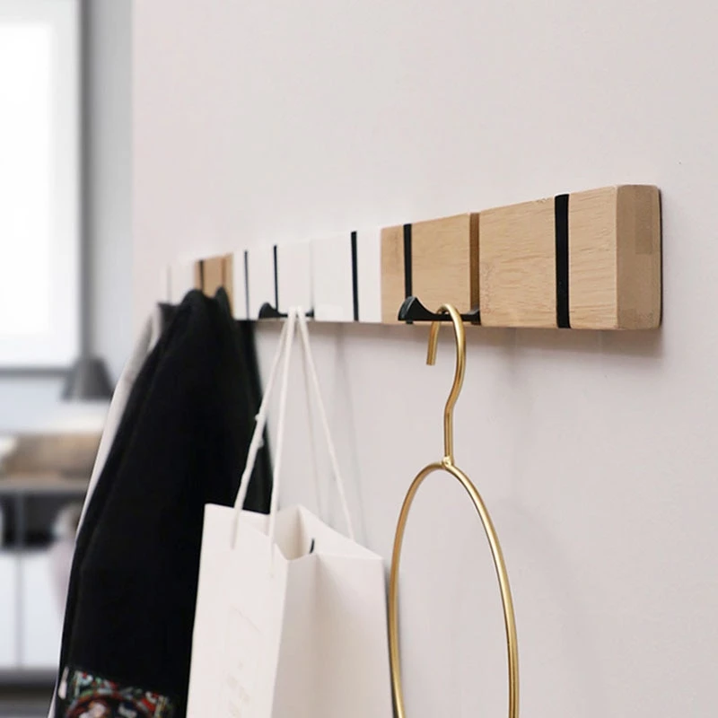 Wooden Oak Walnut Wall-mounted Hook Towl Clothes Hat Coat Storage Hanger Decor