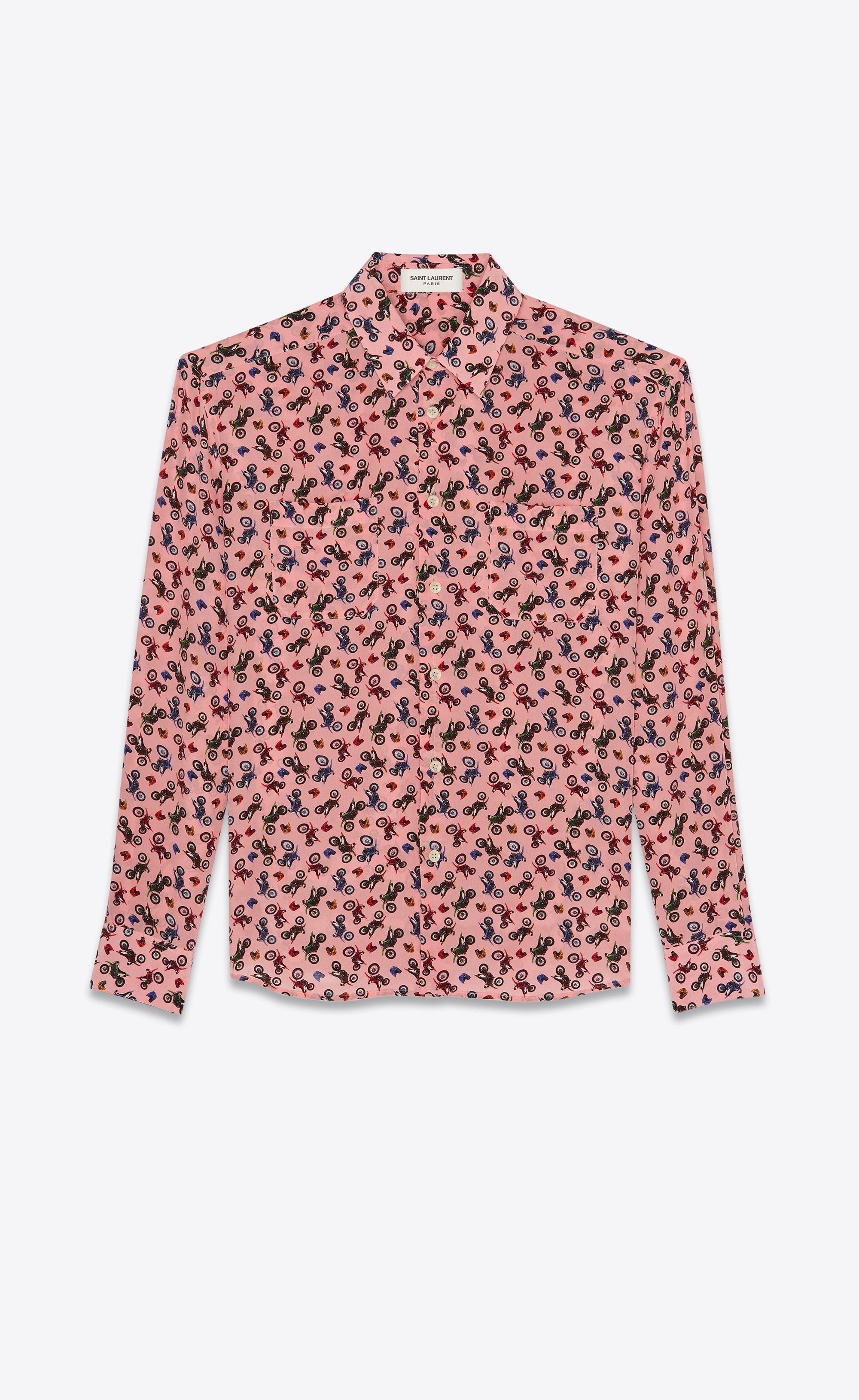 0749fb27 Motorcycle printed shirt in silk   Fashion SS18   Printed shirts ...