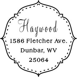 Haywood Deco Stitched Border Address Stamp Address Stamp Custom Stamps Stamp