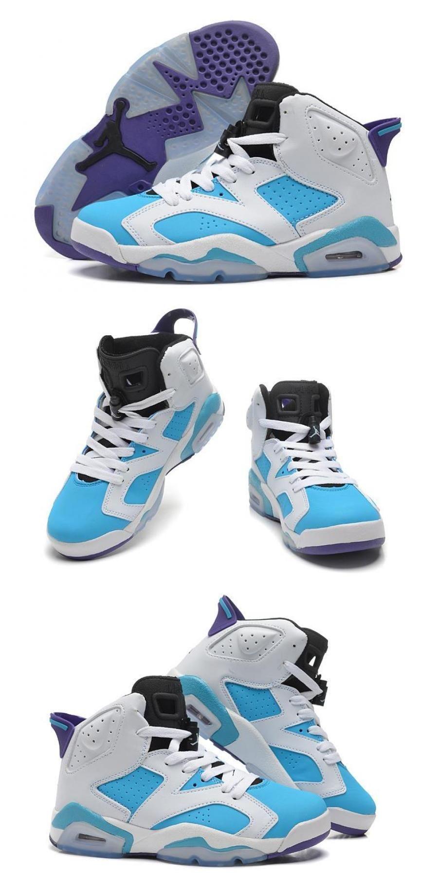 Air Jordan 6 Gs White Blue Purple