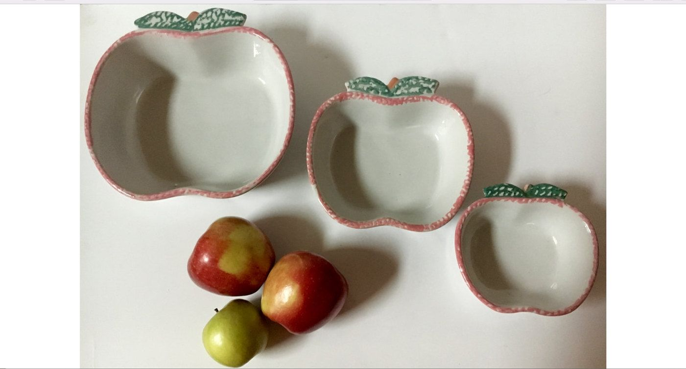 Vintage Stoneware 3 Nesting Bowls Abc Distributing Spongeware Splatterware Apple Shaped Folk Art Country Kitchen Serving